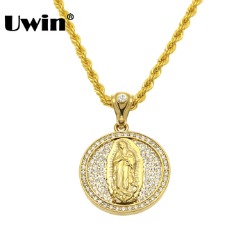 Big Size Jesus Christ Christian Virgin Mary Pendant Full Iced Out Bling Rhinestones 30inch 6mm Rope Chian Hip Hop Necklace