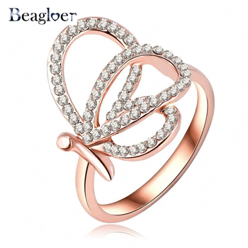 Beagloer Fancy Design Latest Female Rings Austrian Crystal Rose Gold Color Engagement Rings Wholesale Ri-HQ0403-A