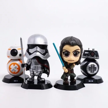 4 stil 7 cm movie Star Wars Son Jedi Robot BB-9E Rey Phasma Bobble Head Doll PVC Action Figure Koleksiyon Modeli oyuncaklar
