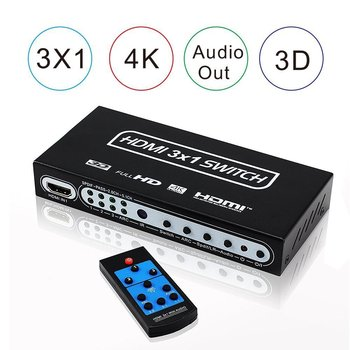 3 Liman HDMI Switch Audio Extractor 4 K 3x1 1.4 HDMI Switch RCA ARK & IR Uzaktan ile PS3 PS4 XBox Için HDMI Anahtarı Splitter HDTV