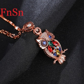 Owl Pendant Necklace Women Trendy Crystal Collar Necklaces Zinc Alloy Rose Gold Color Link Chain Choker Necklace Animal Jewelry