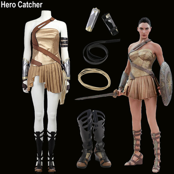Kahraman Catcher Yüksek Kalite Wonder Woman Kostüm Cennet Ada Cosplay Kostüm Set 2017 Film Wonder Woman Suit
