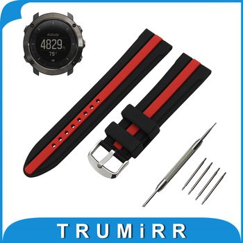 24mm Silicone Rubber Watch Band for Suunto TRAVERSE Stainless Steel Tang Buckle Wrist Strap Bracelet Black Red + Spring Bar