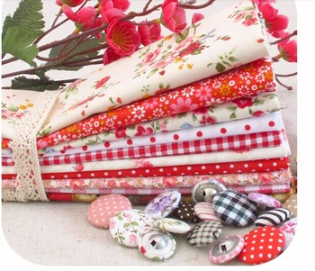 Red Floral Handmade Cotton Fabric Fat Quarter Bundle Quilting Patchwork Tilda Doll Fabric 10pcs 40X40CM