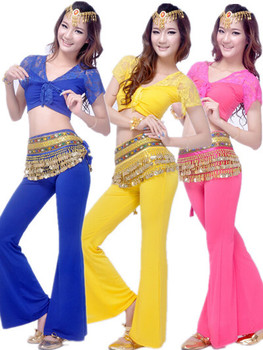 Style Lace Dance Costume Belly Dance Clothes Bellydance Set Indian Dancing Suit 3pcs Top&Pant&Belt 8 colors