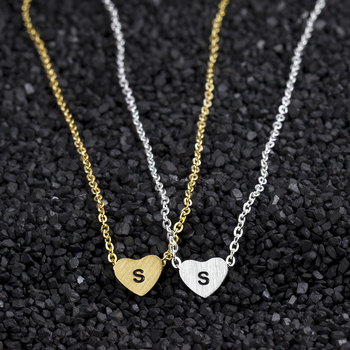 GORGEOUS TALE 10Pcs/lot s t u v w x y z Letter Friendship Necklace Gold Silver Cute Heart Pendant Trendy jewelry For Women