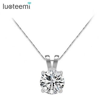 LUOTEEMI Classic Simple Design1 Carat Round Hearts and Arrows Sona Cubic Zirconia white gold-Color Necklace